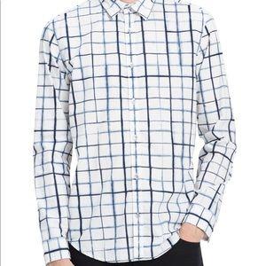 Calvin Klein Mens Shibori Check Button Up Shirts